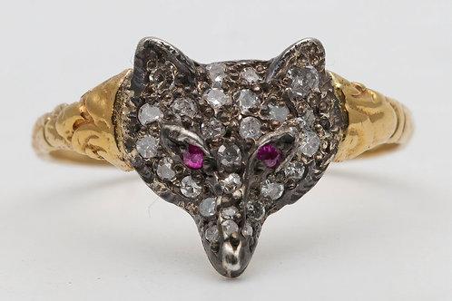 Novelty 1960s 18ct gold fox ring