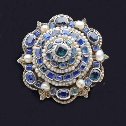 Antique Sapphire and Pearl Brooch