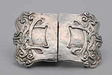 Liberty Art N silver Art Nouveau belt buckle attributed to Oliver Baker