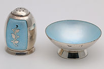 Volmer Bahner turquoise silver and enamel salt and pepper.   Sold for £41