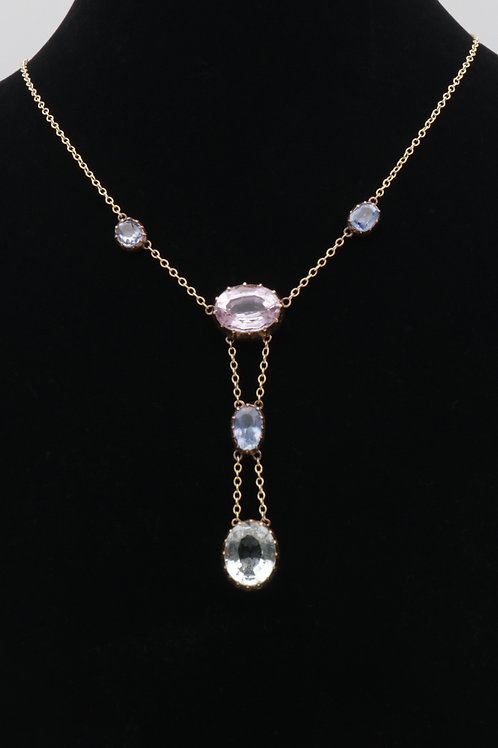 arly 20th century aquamarine, sapphire and pink topaz gold necklace