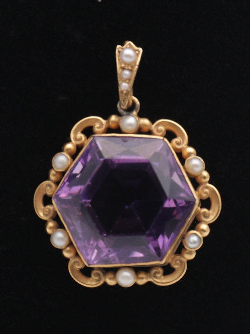 Victorian 15ct gold amethyst and pearl pendant