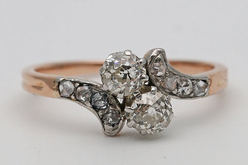 Art Deco old-cut diamond two-stone crossover ring