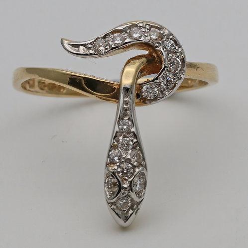 18ct gold brilliant-cut diamond snake ring