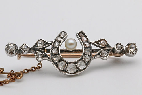 Victorian diamond and pearl horseshoe brooch