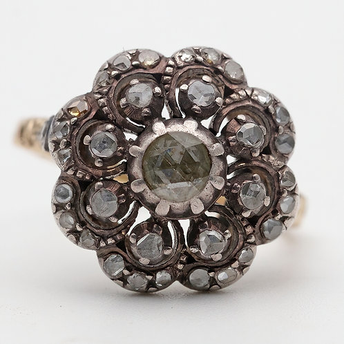 Mid 19th century silver and gold diamond dress ring
