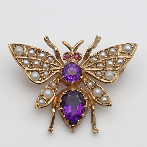 Vintage gold amethyst and seed pearl novelty brooch