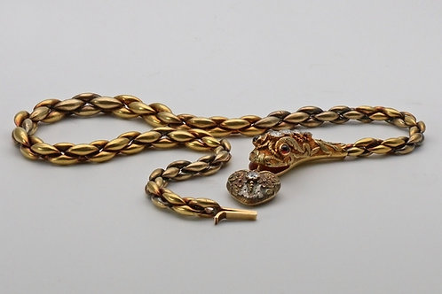 Victorian gold and diamond serpent necklace
