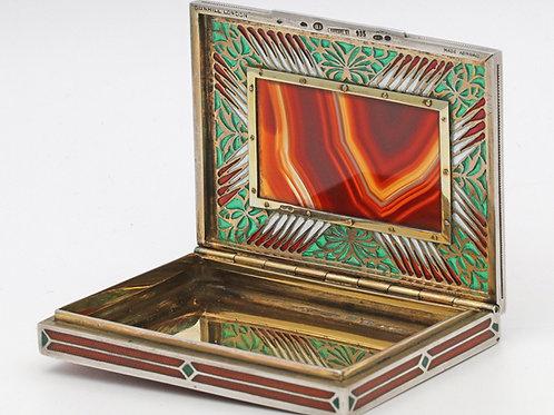 Art Deco Austrian, enamel and agate cigarette case