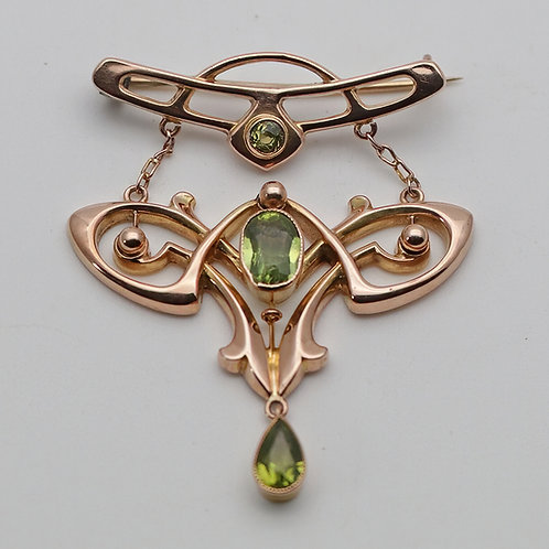 Rare Liberty Arts and Crafts peridot brooch