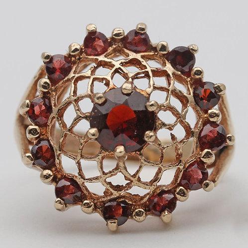 Vintage gold and garnet dress ring