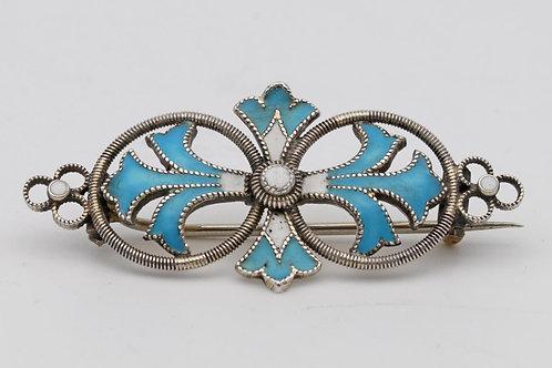 Art nouveau silver and enamel brooch