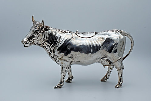 Impressively large silver German cow creamer