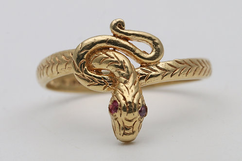 18ct gold snake ring with ruby eyes