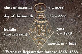 Sampson Mordan Victorian lozenge silver 1870