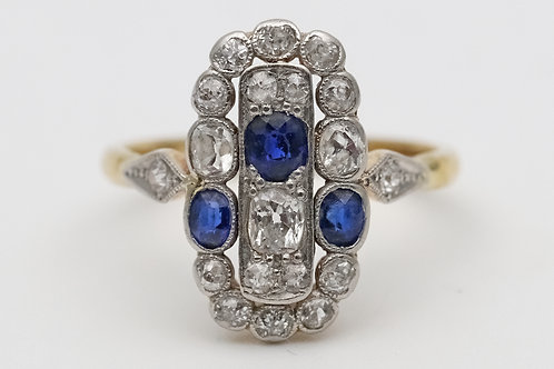 Art Deco 18ct gold dress ring set with diamonds and sapphires