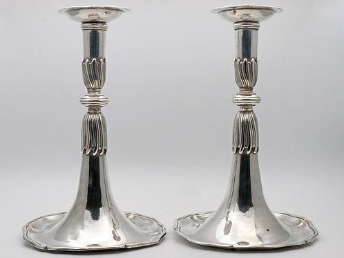 Swiss silver trumpet candlesticks