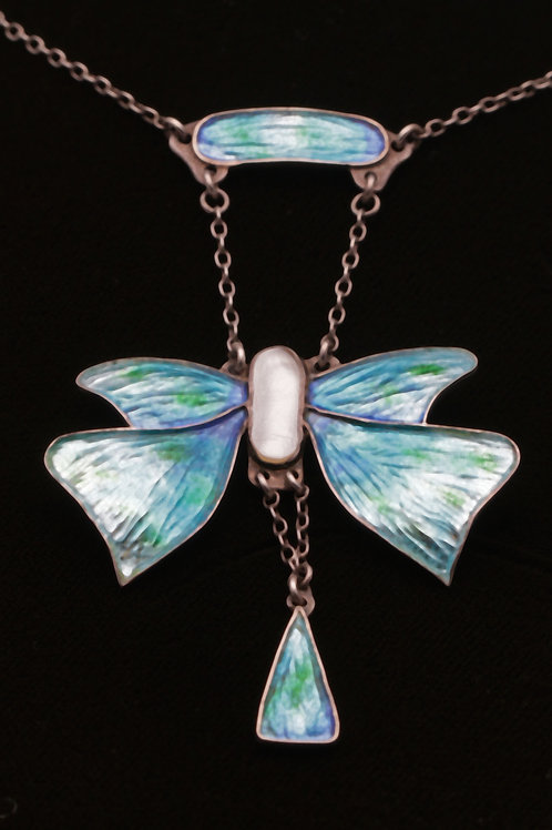 Arts and Crafts enamel butterfly silver necklace, with mother-of-pearl body