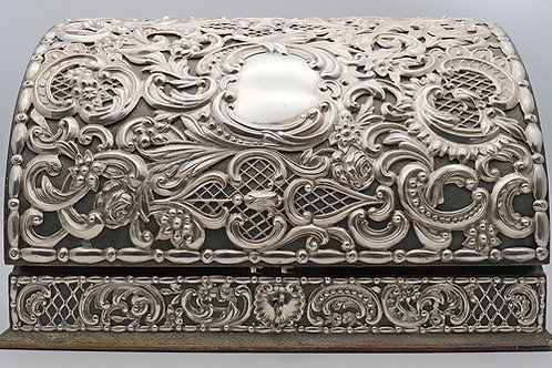Victorian leather bound silver stationery box