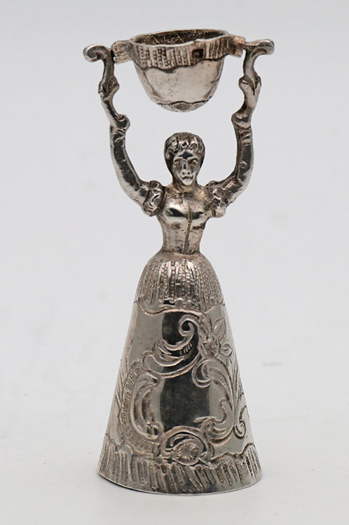 Antique silver miniature of a wager or marriage cup