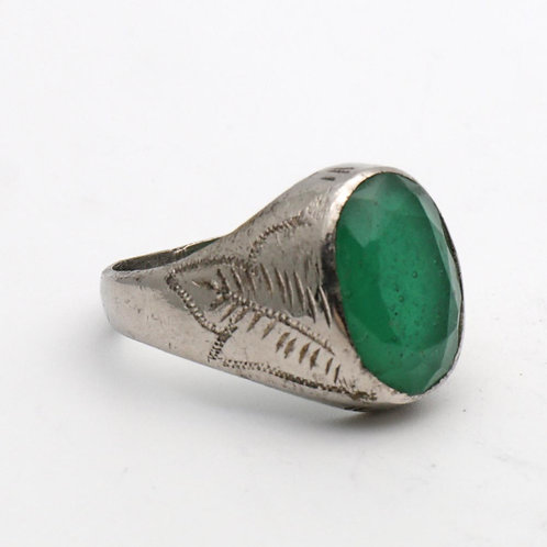 Vintage silver and emerald ring
