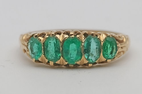 Emerald five-stone ring