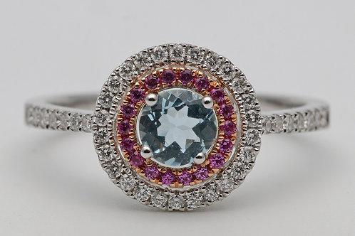 18ct gold aquamarine, pink sapphire and diamond dress ring