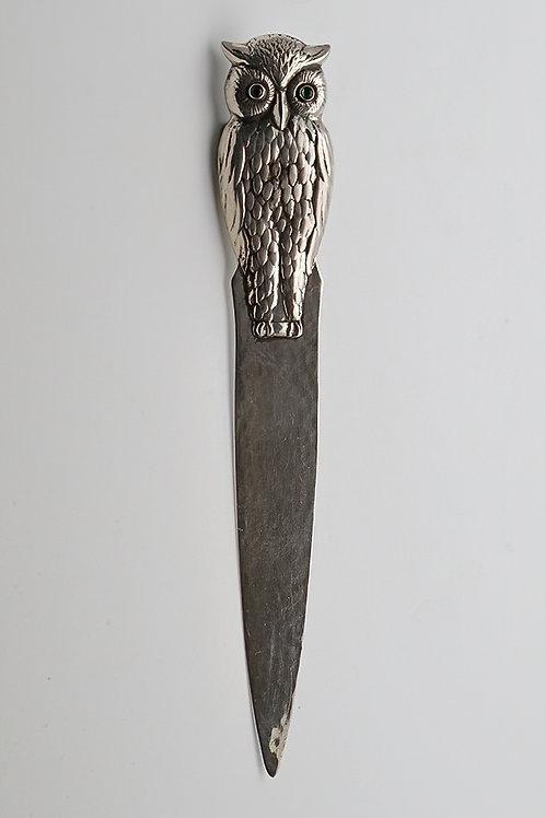 Danish silver owl letter opener Hugo Grun c.1900-1910