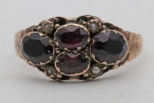 Georgian gold and almandine garnet ring