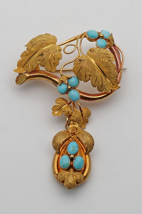 Fabulous Victorian gold and turquoise brooch