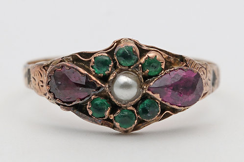 Victorian 18ct gold ring pearl, emeralds and pink tourmaline