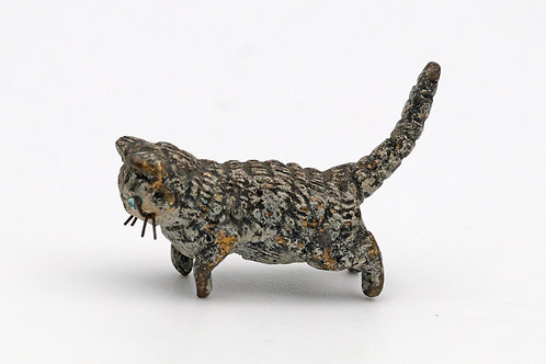 Austrian miniature cold painted bronze of a cat with whiskers