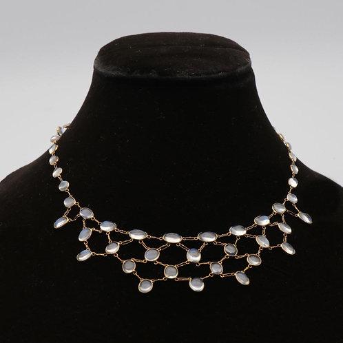 Moonstone gold fringe necklace