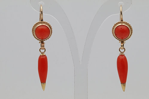 Antique coral and gold earrings