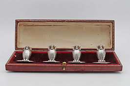 Sampson Mordan set of 4 owl place name holders 1912