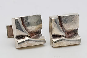 Bjorn Weckstrom for Lapponia silver cuff links c.1969 with their natural patina.  2cm square  £195