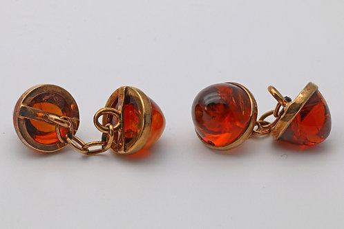 Amber cabochon cuff links