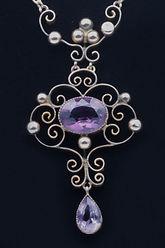 Amythest gold necklace