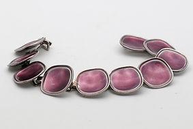 Borgila handmade silver and enamel bracelet with purple enamel, modernist 1958  £385