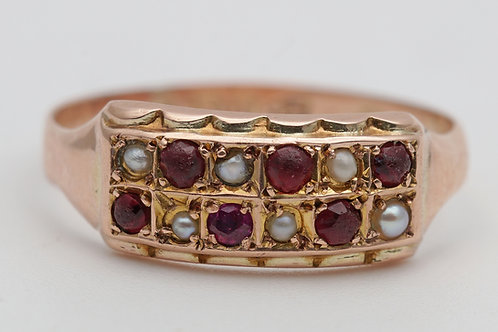Edwardian gold ring set with rubies and pearls