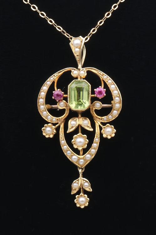 Art Nouveau 15ct gold pendant/brooch