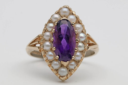 Vintage gold amethyst and pearl ring