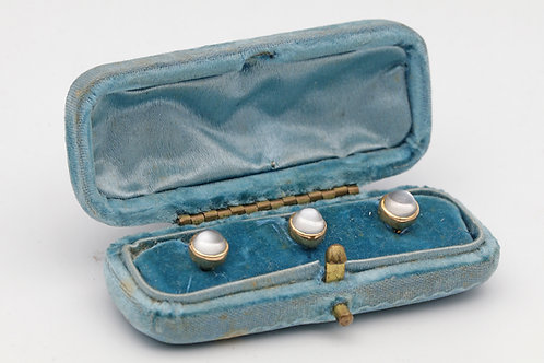 Early 20th century moonstone dress studs