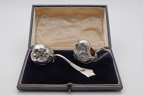 Edwardian novelty silver strawberry set