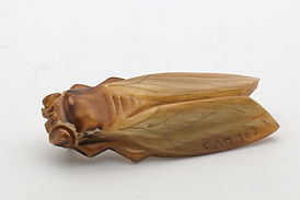 Art Deco French carved horn beetle cicada signed Cannes