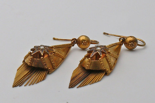Victorian gold and diamond ear rings