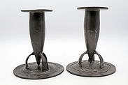 Pair of Archibald Knox candlesticks . Liberty Tudric 0221