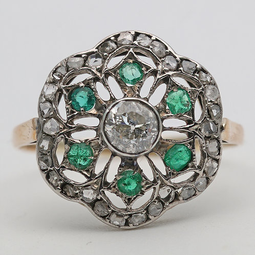 Art Deco gold, emerald and diamond cluster ring
