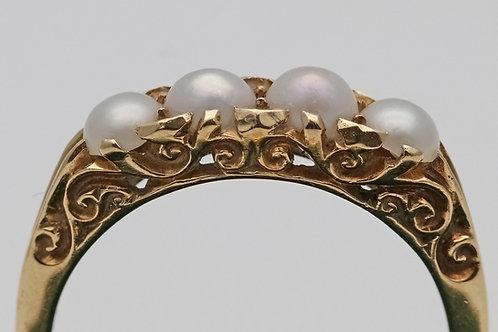 Art Nouveau 18ct gold split pearl four-stone ring