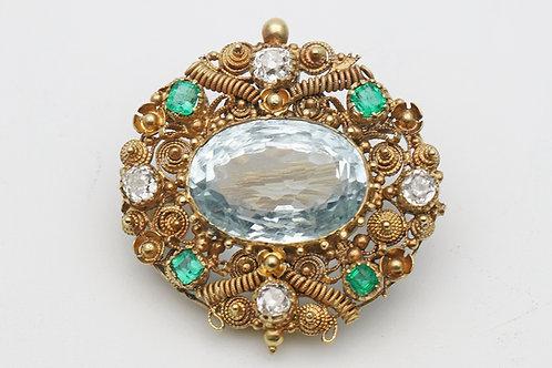 Georgian gold cannetille brooch